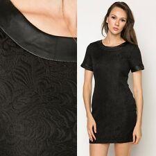 381 Partido Clubbing Faux Leather Trim En Relieve Vestido Negro Talla S M L