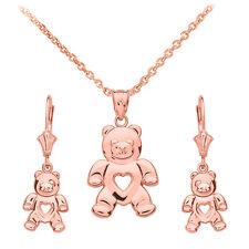 14k Rose Gold Open Heart Love Bear Pendant Necklace & Matching Earrings
