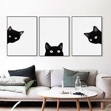 3Pcs Modern Black Cat Painting Canvas Poster Bedroom House Unframed Art Decor