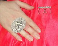 anello doppio dito CON LA TUA INIZIALE PL ARGENTO ANTICO made in italy