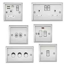 Bevelled Edge Polished Chrome - Decorative WHITE INSERT switch socket usb toggle