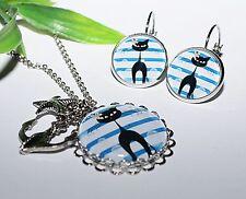 ANKER +++ Kette u. Ohrringe Set Ohrstecker Brisur silber Ohrhänger Cat Blau weiß