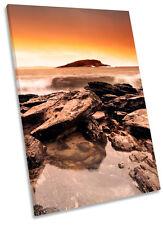 Sunset Beach Surf rocas Lona Pared Arte Impresión Foto Enmarcada
