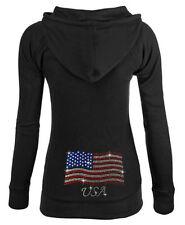 Junior's Rhinestone American Flag Black Thermal Zipper Hoodie Us Usa America
