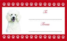 White Poodle Dog Christmas Birthday Gift labels Sticker Dog Animal Pet Lover