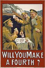 WA122 Vintage WW1 Will You Make A Fourth Irish Recruiting War Poster A1/A2/A3/A4