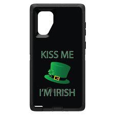 OtterBox Defender for Galaxy Note 8 9 10 + Black Green Kiss Me I'm Irish