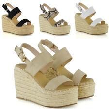 Womens High Wedge Heel Platform Sandals Ladies Strappy Espadrilles Shoes Size