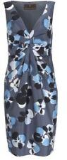 £189 NEW NWT FENN WRIGHT MANSON BLUE GREY SILK PANSY PRINT DRESS UK 8 US 4 EU 36