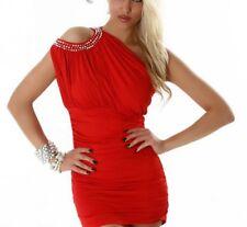 SeXy Miss Damen Mini Kleid Glamour Perlen Long Top Girly Dress 34/36/38 Rot NEU