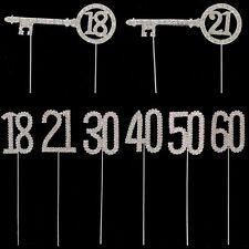 PLATA Y Diamante Cumpleaños Aniversario Número Torta Topper - Elegir Diseño