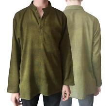 New 100% Cotton Khaki Shirt Kurta Nehru Granddad Collar Casual Fairtrade Nepal
