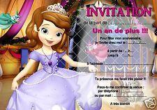 5 ou 12 cartes invitation anniversaire Princesse Sofia réf 316