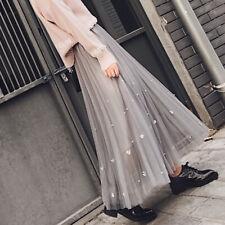 Japanese Preppy Style Mori Girl Harajuku Mesh Long Ball Gown Pleated Skirts
