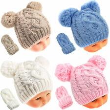 Babymütze + Handschuhe Set Kinder Doppel Bommelmütze Wintermütze Jungen Mädchen