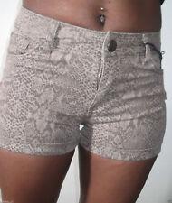 new look brown highwaisted stretch animal print denim short hotpants size 6-14
