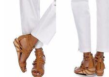 Eileen Fisher Echo Brown Chestnut Wedge Gladiator Zip Buckle Sandals 8 8.5 10 11
