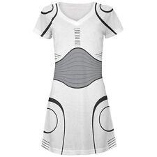Halloween Cyborg Trooper Costume White All Over Juniors Beach Cover Up Dress