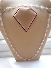 Hall-Mark-Silver-Sri-Lanka Single Link White Moonstone Chain Necklaces (NEW)