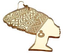 gold mirror acrylic earrings African woman head wrap silhouette