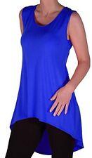 Womens Short Sleeve Scoop Neck Plain Fishtail Casual Long Blouse Tunic Top
