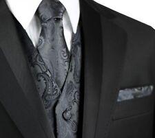 MEN'S CHARCOAL PAISLEY TUXEDO VEST, TIE & HANKIE. Formal, Wedding, Prom, Cruise