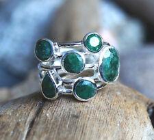 Handarbeit Ring Silber  52 59 60 Silberring Modern Smaragd Multi Grün Facettiert