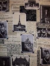 VINTAGE PARIS TRAVEL EIFFEL TOWER COTTON FABRIC BTHY