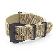DASSARI Shred Frayed Edge Beige Canvas Watch Band Strap w/ Matte Black Hardware