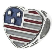Sterling Silver Heart Flag Military Wife Enamel Bead for European Charm Bracelet