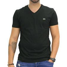 Lacoste T-Shirt V-Neck Kurzarm Baumwolle Herren Schwarz Noir TH2036 031