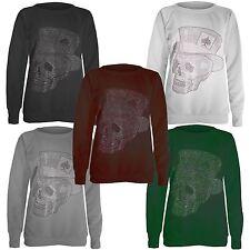New Womens Skull Hat Sequin Studded Full Sleeve Sweatshirt Jumper Tops 8-14