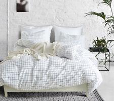 Family Polyester Simple Bedding  Pillow Cover Quilt  Fiber White Plaid 3Pcs