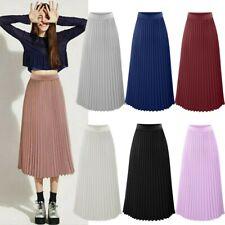 Womens Solid Pleated Elegant Midi Elastic Waist Maxi Skirt Ladies Fashion Dress