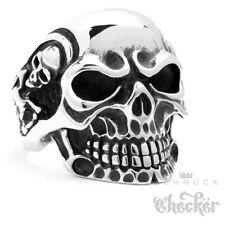 Massiver Edelstahl Biker Ring silber Skull Totenkopf Schädel m. Skeletten Rocker