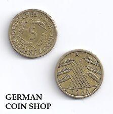 Germany 5 Reichspfennig 1924-1936 A D E F G J - bitte auswählen/please select