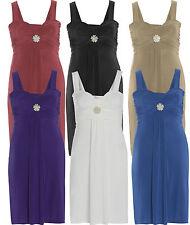 Womens Plus Jewel Detail Broach Tie Back Knee Length Cocktail Party Dress