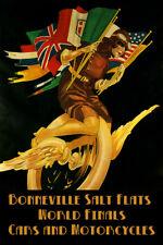 Bonneville Salt Flats Motorcycle Car Bike Vintage Poster Repro FREE SHIP in USA
