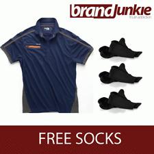 SCRUFFS NAVY ACTIVE PRO ZIP POLO Hardwearing Work Shirt + FREE SOCKS