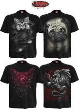 Spiral Direct Gatto /Dragon/Rose/Rock/Biker/Scheletro/Gotico/Unisex T-shirt/Top