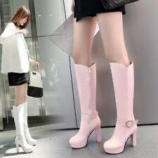 Women's Fashion New Winter Cuban Mid Heel Boots Side Zipper Faux Leather Shoes