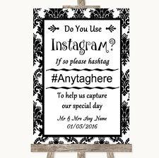 Wedding Sign Black & White Damask Instagram Social Media Photo Sharing