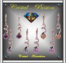 """Sublime Boucle d'oreille cristal autrichien """"Spirale Diamant"""" doré à l'or fin"""