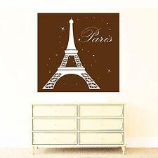 Wall Vinyl Sticker France Paris Eiffel Tower Night Stars Moon Decor (n471)