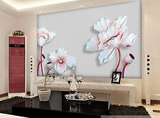 3D White Lotus Carving 4890 Wall Paper Wall Print Decal Wall AJ WALLPAPER CA