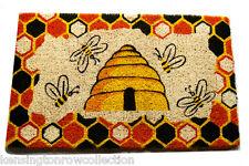 DOOR MATS - BEEHIVE STENCILED COIR DOORMAT - HONEY BEE DOOR MAT - WELCOME MAT