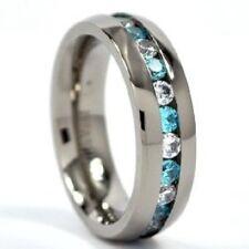 6mm Eternity Ring Titanium Wedding Band w/ Blue Topaz & CZ, Anniversary band
