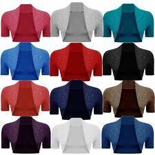 New Ladies Plus Size Short Sleeve Bolero Cardigan Crop Top 4-22