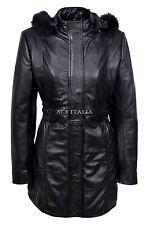 SYLVIA Ladies Black Trench Mid Length Fur Hooded Designer Leather Jacket Coat