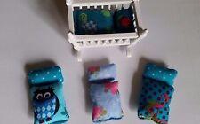 Puppenbettwäsche für Wiege Puppenhaus Puppenstube Wendekissen 1:12 Schuleinführu